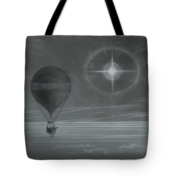 Lunar Halo And Luminescent Cross Observed During The Balloon Zenith's Long Distance Flight Tote Bag