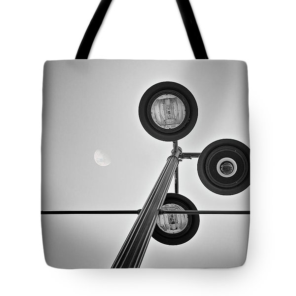 Lunar Lamp In Black And White Tote Bag