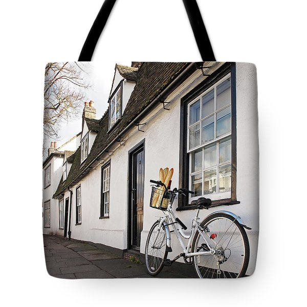 Tote Bag featuring the photograph Lunch French Style By Bicycle In Cambridge by Gill Billington