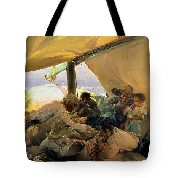 Lunch On The Boat Tote Bag by Joaquin Sorolla y Bastida