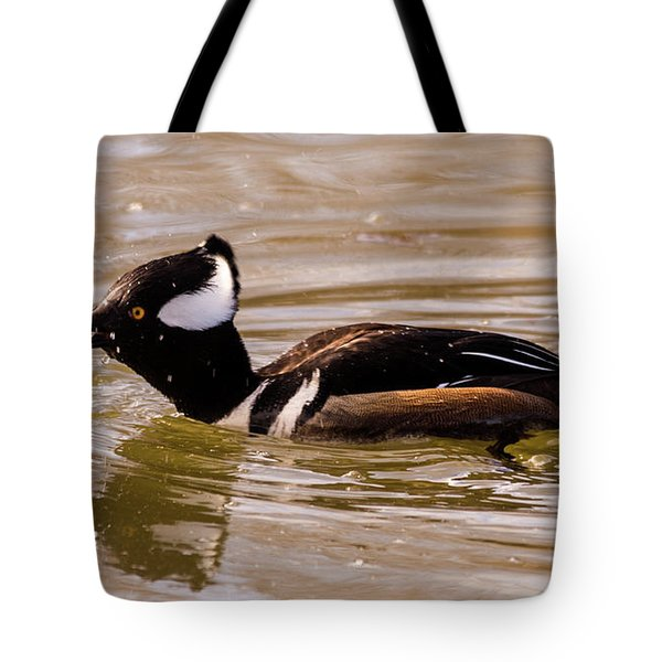 Lunchtime For The Hooded Merganser Tote Bag by Randy Scherkenbach