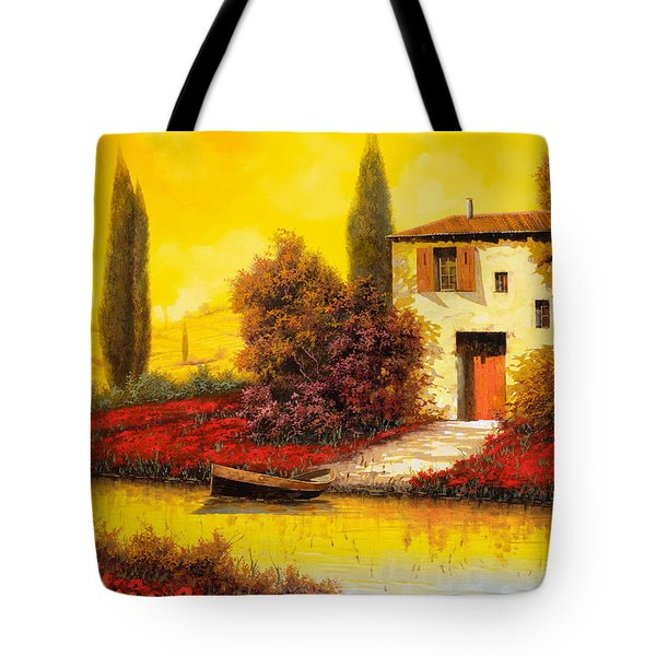 Tote Bag featuring the painting Lungo Il Fiume Tra I Papaveri by Guido Borelli