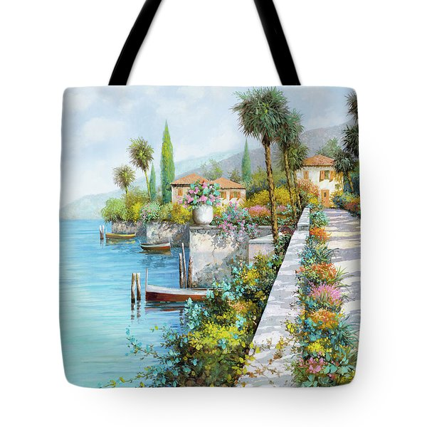 Tote Bag featuring the painting Lungolago by Guido Borelli