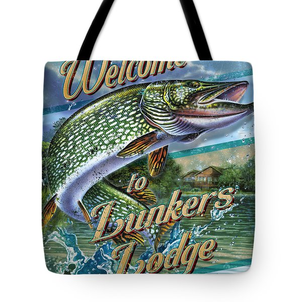 Lunkers Lodge Sign Tote Bag