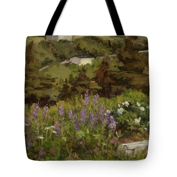 Lupine And Wild Roses Tote Bag