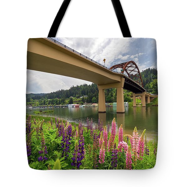 Lupine In Bloom By Sauvie Island Bridge Tote Bag by David Gn