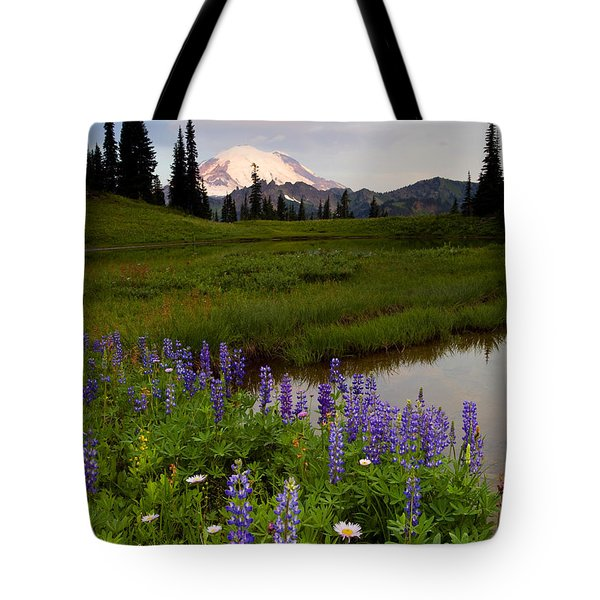 Lupine Sunrise Tote Bag by Mike  Dawson