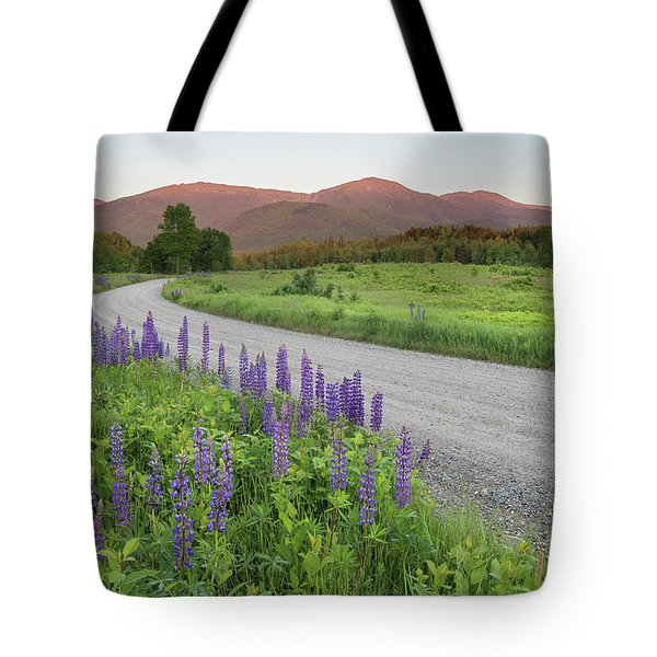 Lupine Sunset Road Tote Bag