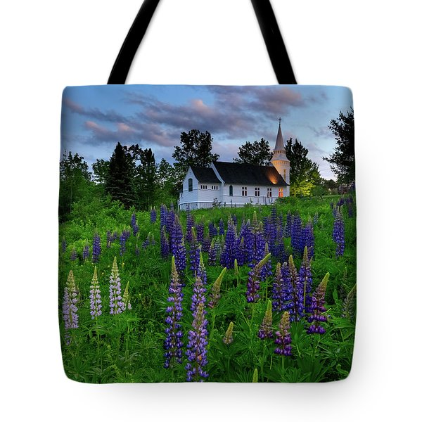 Lupines By The Church Tote Bag