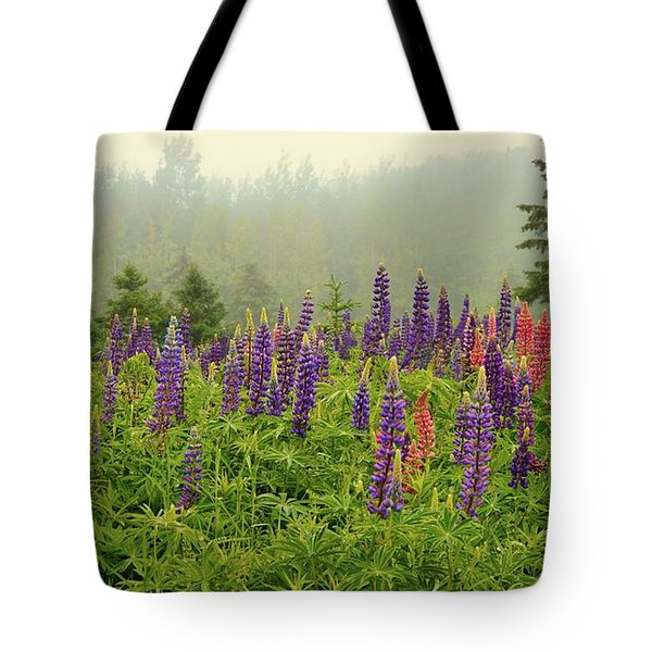 Lupins In The Mist Tote Bag