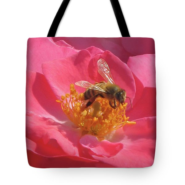 Tote Bag featuring the photograph Luscious Rose With A Bee by Nancy Lee Moran