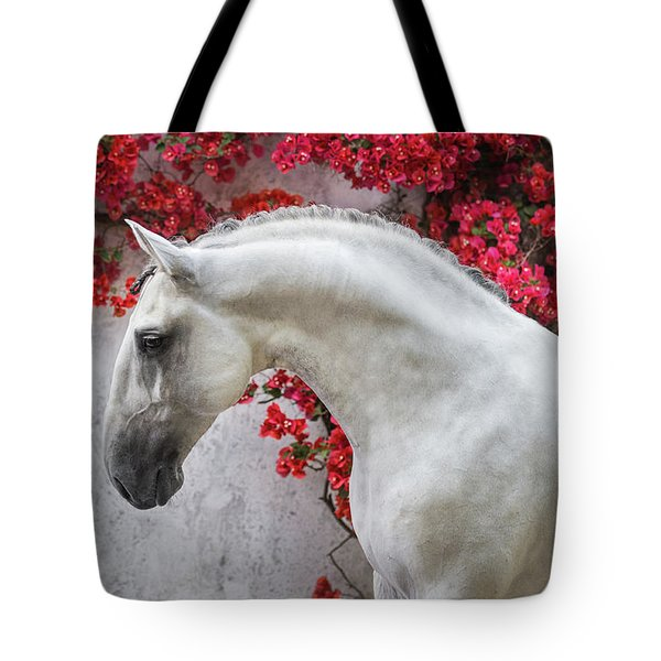 Lusitano Portrait In Red Flowers Tote Bag