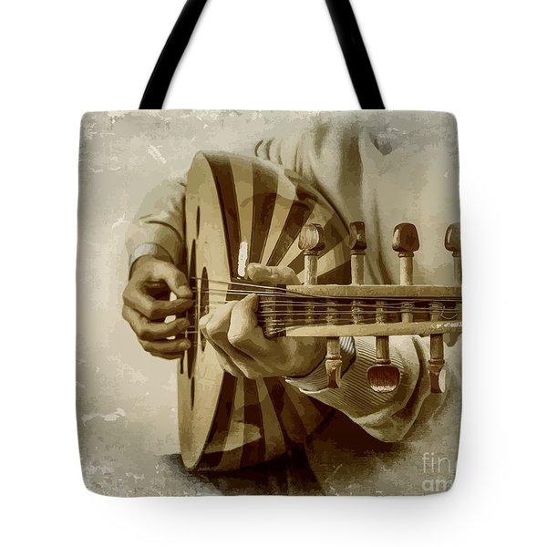 Grey Lutenist Tote Bag by Moustafa Al Hatter