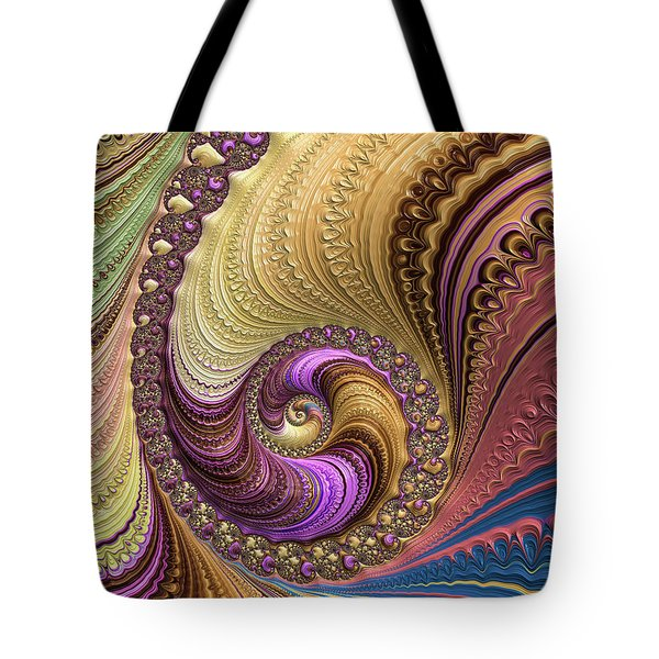 Tote Bag featuring the digital art Luxe Colorful Fractal Spiral by Matthias Hauser