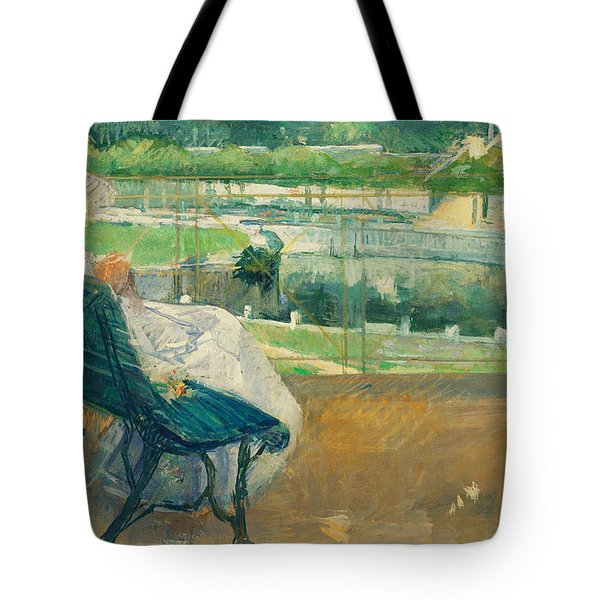 Lydia Seated On A Porch Crocheting Tote Bag