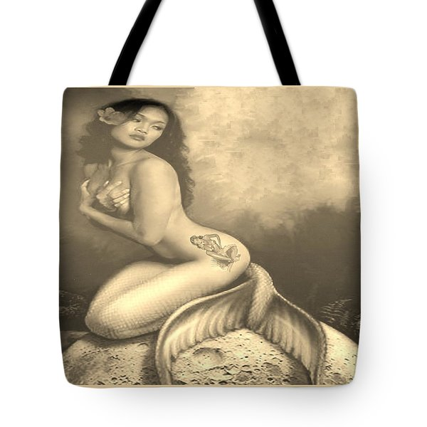 Lydia The Tattooed Mermaid In Sepia Tote Bag