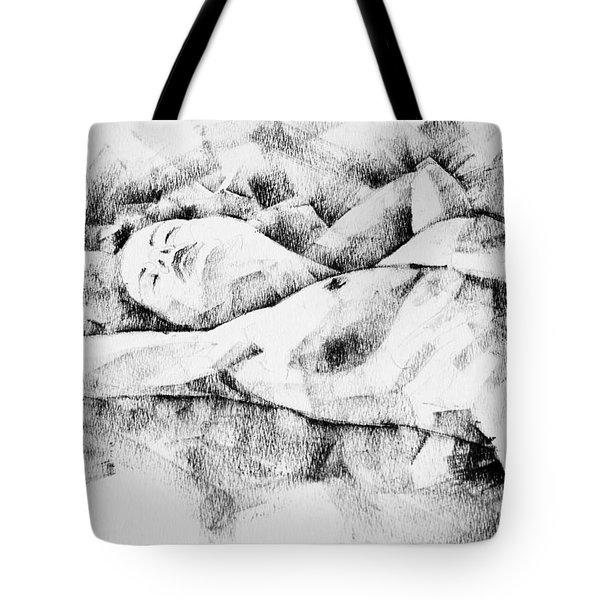 Lying Woman Figure Drawing Tote Bag