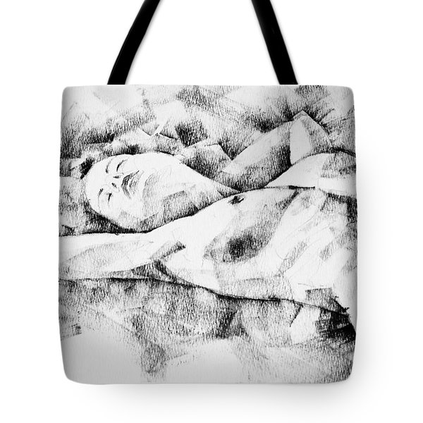 Lying Woman Figure Drawing Tote Bag