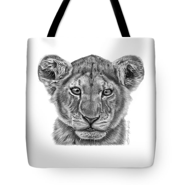 Tote Bag featuring the drawing Lyla The Lion Cub by Abbey Noelle