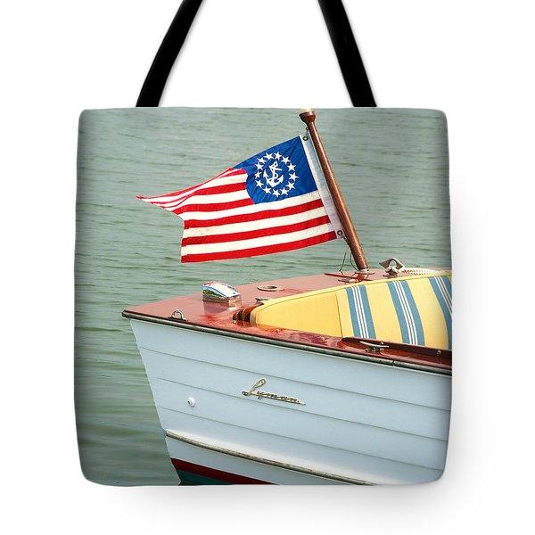 Vintage Mahogany Lyman Runabout Boat With Navy Flag Tote Bag