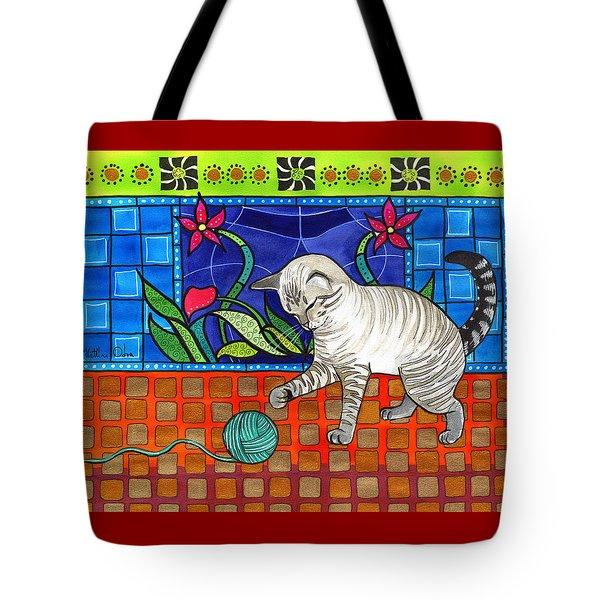 Lynx Point Kitten Smitten With Yarn Tote Bag