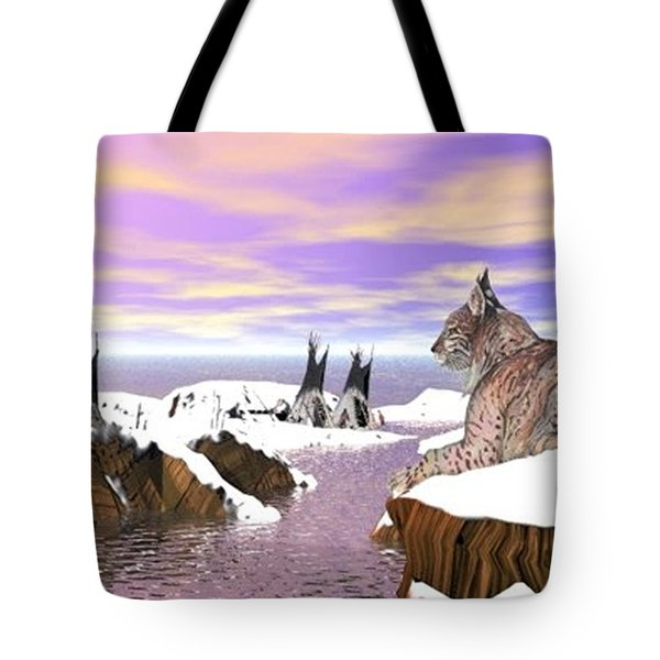 Tote Bag featuring the digital art Lynx Watcher Render by Darren Cannell