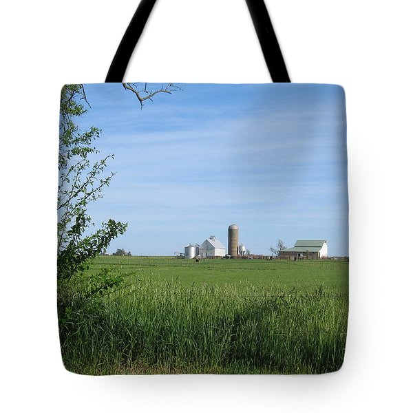 Tote Bag featuring the photograph M Angus Farm by Dylan Punke