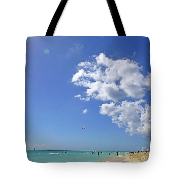 Tote Bag featuring the digital art M Day At The Beach 2 by Francesca Mackenney