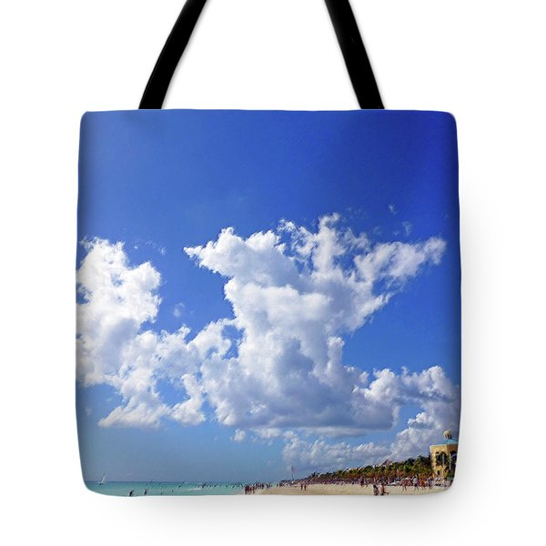 Tote Bag featuring the digital art M Day At The Beach by Francesca Mackenney