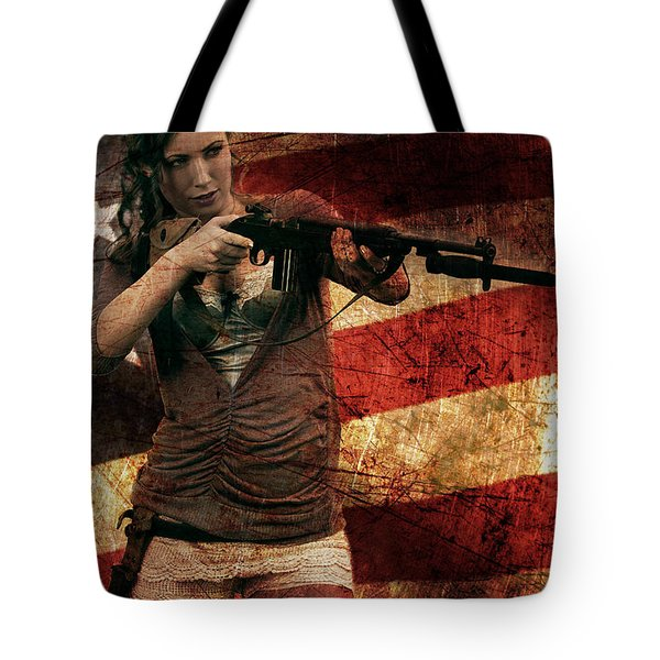 M1 Carbine On American Flag Tote Bag by David Bazabal Studios