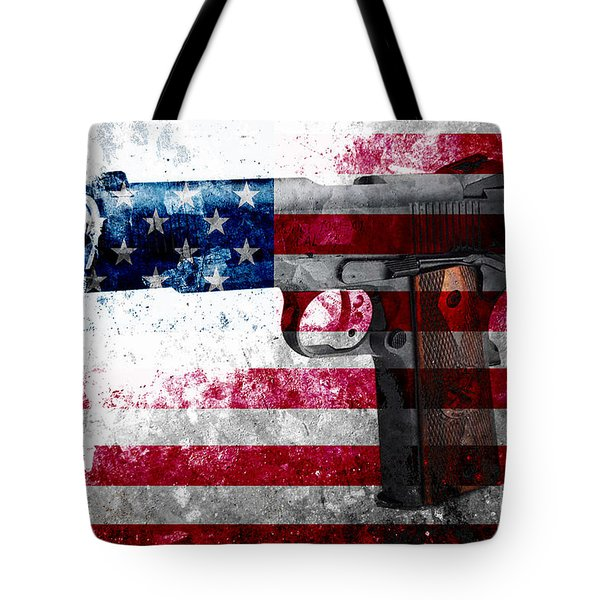 M1911 Colt 45 And American Flag On Distressed Metal Sheet Tote Bag