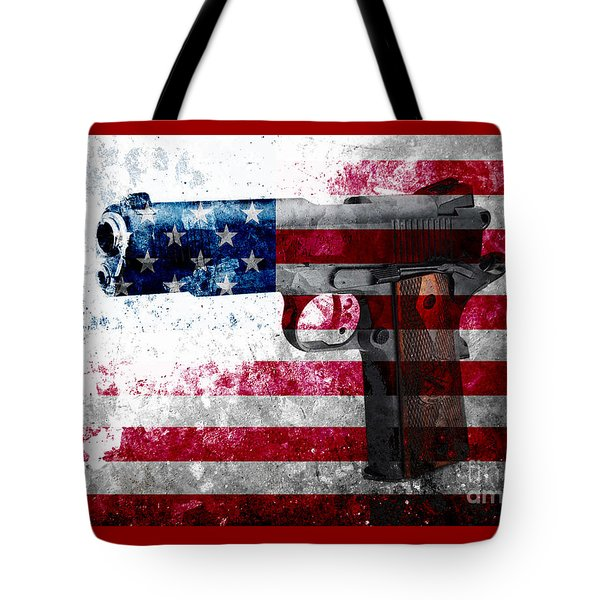 M1911 Colt 45 And American Flag On Distressed Metal Sheet Tote Bag by M L C
