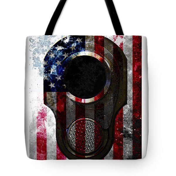 M1911 Colt 45 Muzzle And American Flag On Distressed Metal Sheet Tote Bag