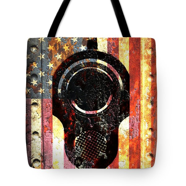M1911 Colt 45 On Rusted American Flag Tote Bag by M L C