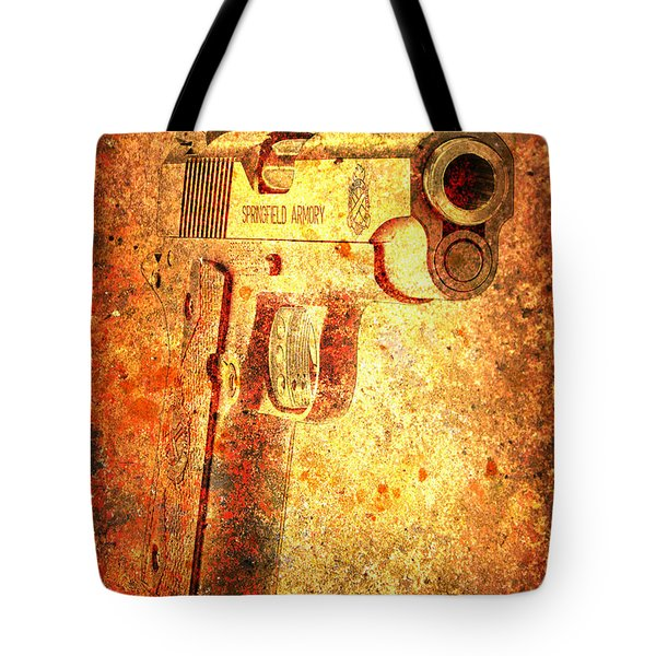 M1911 Muzzle On Rusted Background 3/4 View Tote Bag