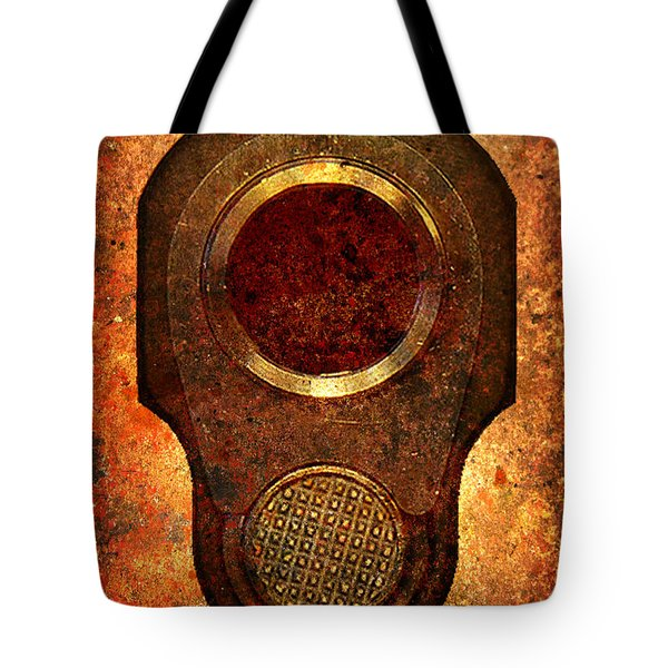 M1911 Muzzle On Rusted Background Tote Bag by M L C