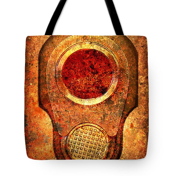 M1911 Muzzle On Rusted Background - With Red Filter Tote Bag by M L C