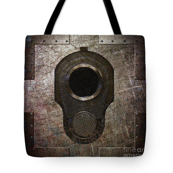 M1911 Muzzle On Rusted Riveted Metal Dark Tote Bag