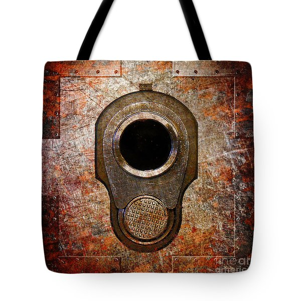 M1911 Muzzle On Rusted Riveted Metal Tote Bag