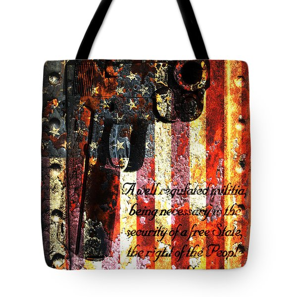 M1911 Pistol And Second Amendment On Rusted American Flag Tote Bag by M L C