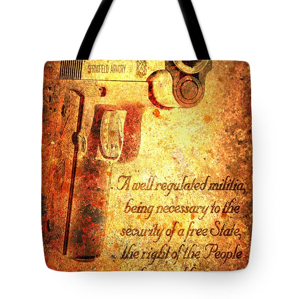 M1911 Pistol And Second Amendment On Rusted Overlay Tote Bag by M L C
