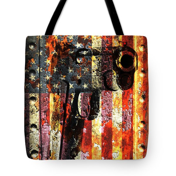 M1911 Silhouette On Rusted American Flag Tote Bag by M L C