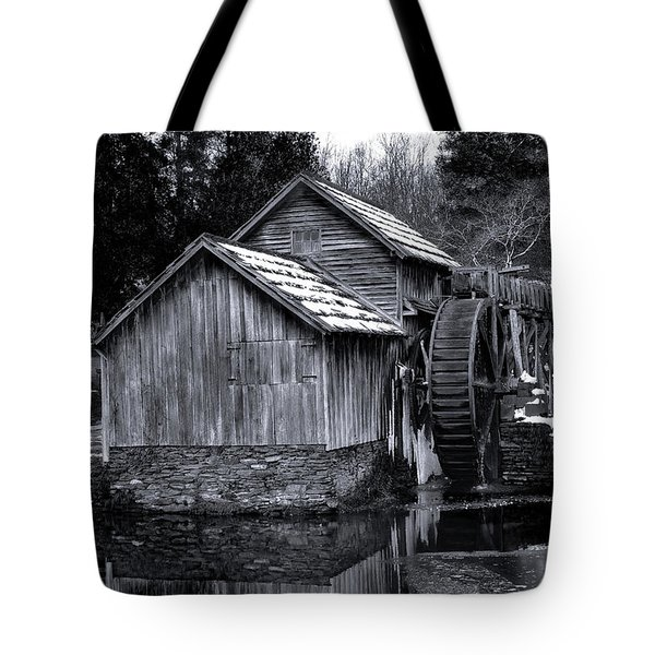 Mabry Mill Bw Light Snow Tote Bag