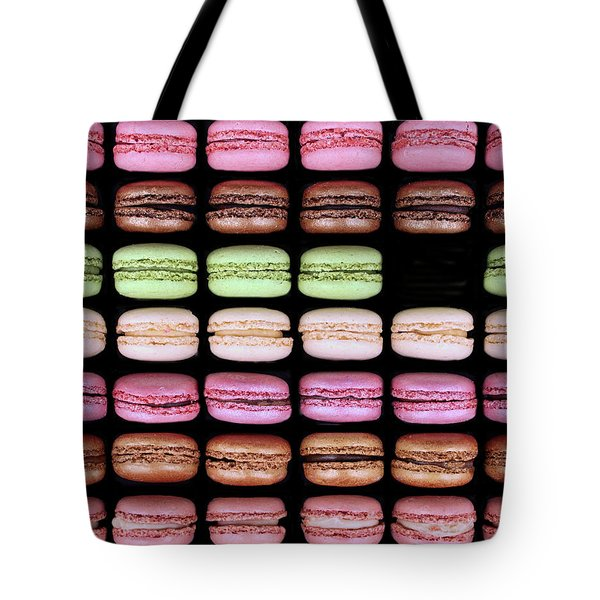 Tote Bag featuring the photograph Macarons - One Missing by Nikolyn McDonald