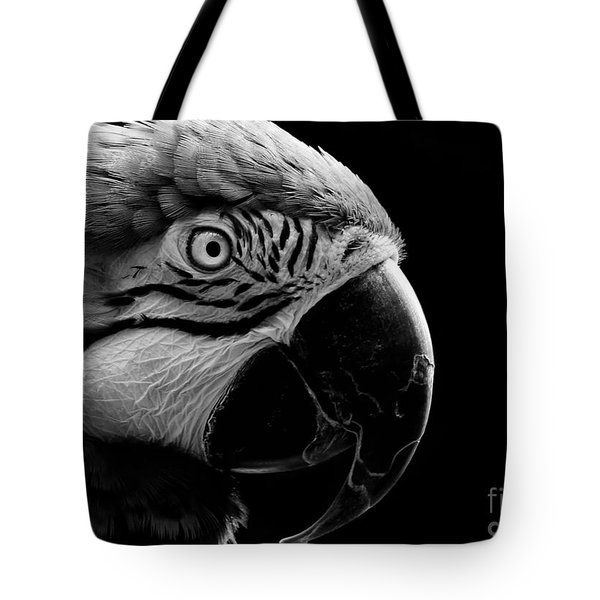Macaw Parrot Portrait Black And White Tote Bag