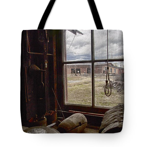 Tote Bag featuring the photograph Machine Shop Window Still Life 4 by ELDavis Photography