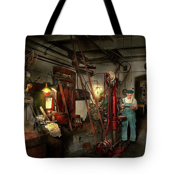 Tote Bag featuring the photograph Machinist - Government Approved 1919 by Mike Savad