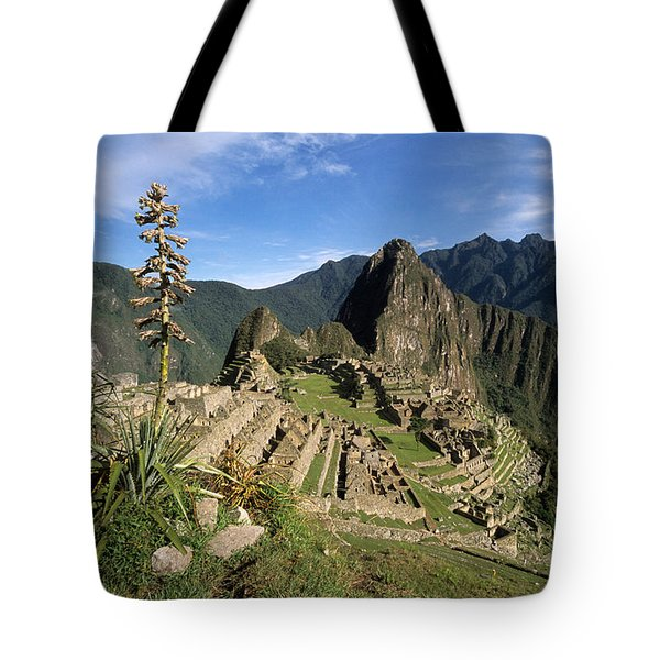 Machu Picchu And Bromeliad Tote Bag by James Brunker