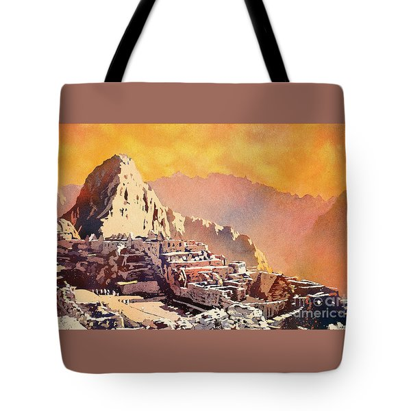 Tote Bag featuring the painting Machu Picchu Sunset by Ryan Fox