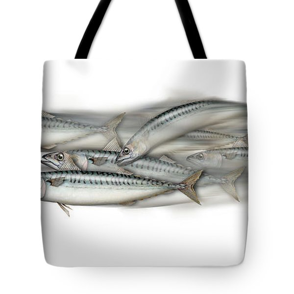 Mackerel School Of Fish - Scomber - Nautical Art - Seafood Art - Marine Art -game Fish Tote Bag